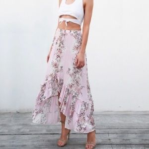 'Weylynn' Pink Floral High Low Skirt